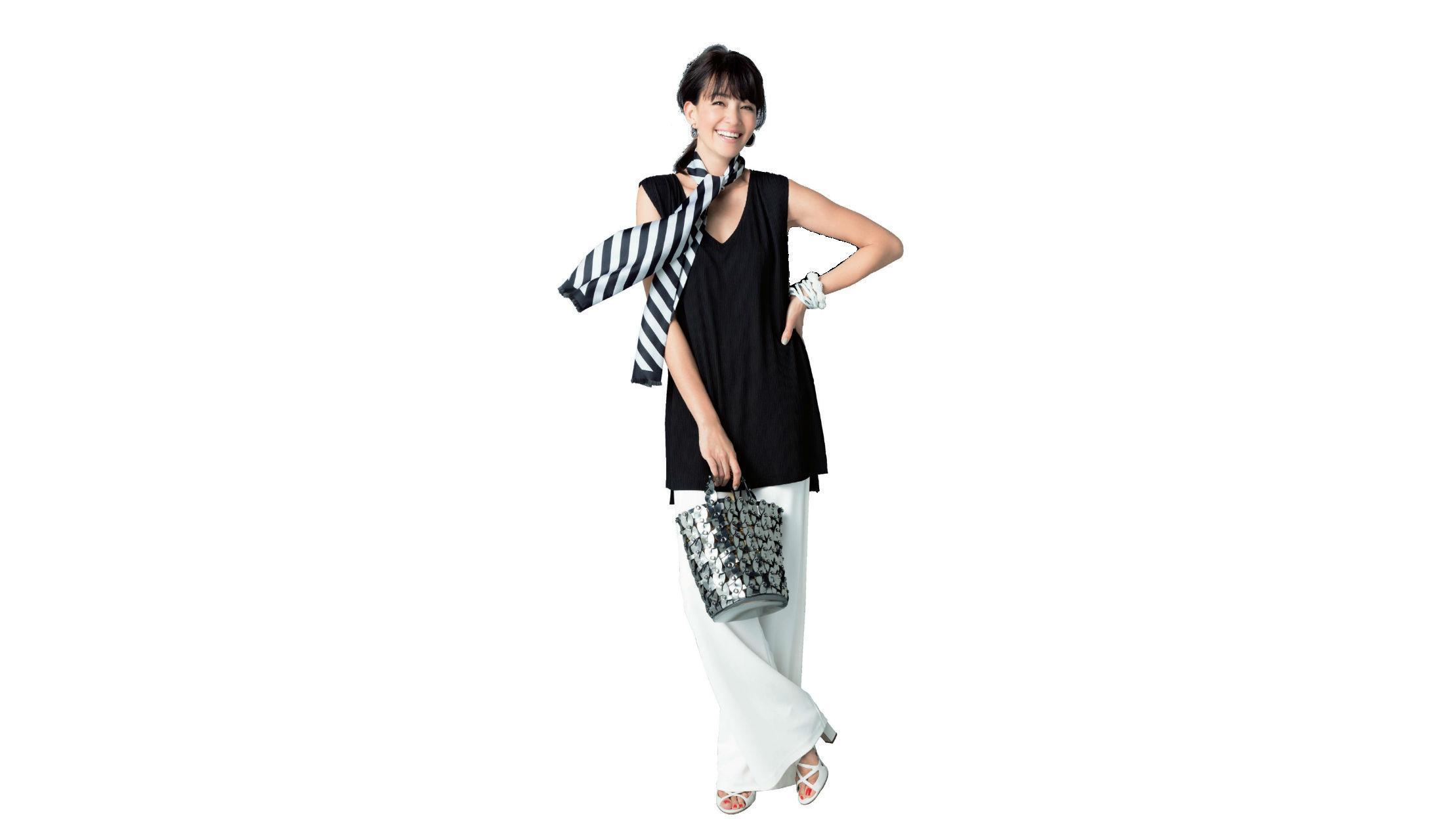 【3】黒ロングニット×ワイド白パンツ