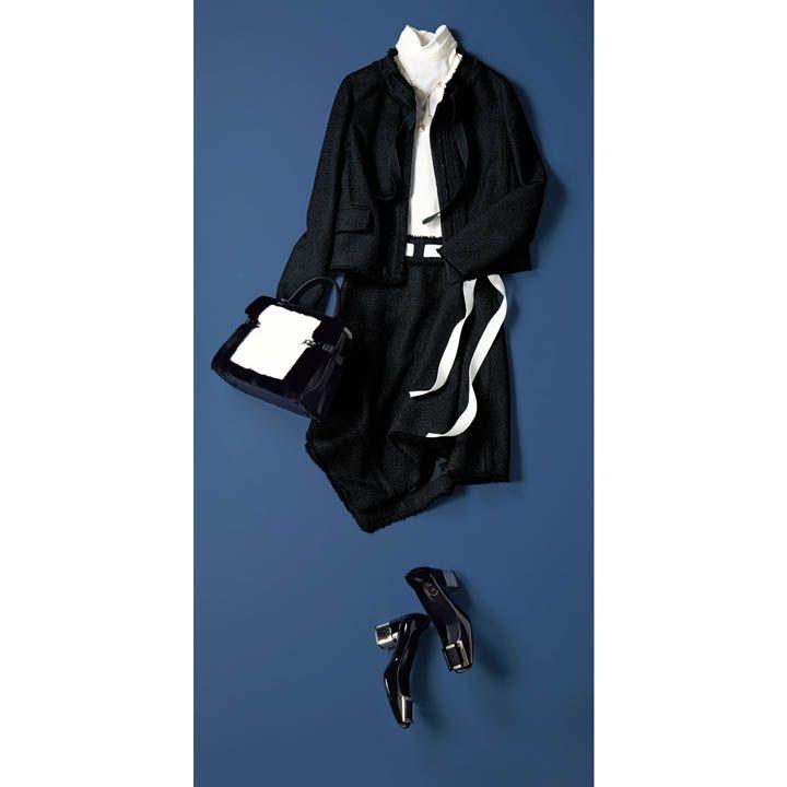 【2】ツイードのスカート×ジャケットのセットアップをフェミニンに着こなす