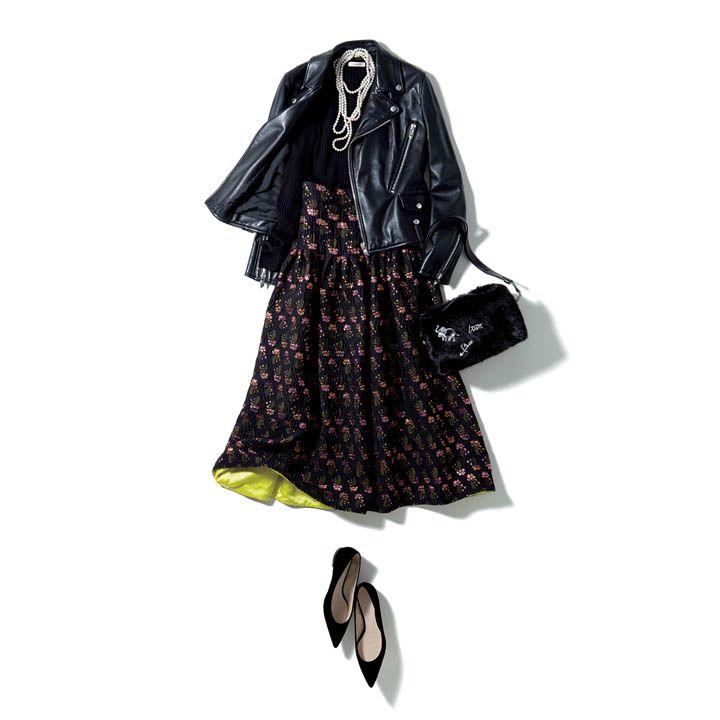 【2】ライダース×ロングのジャカードスカートでリッチなカジュアルコーデ