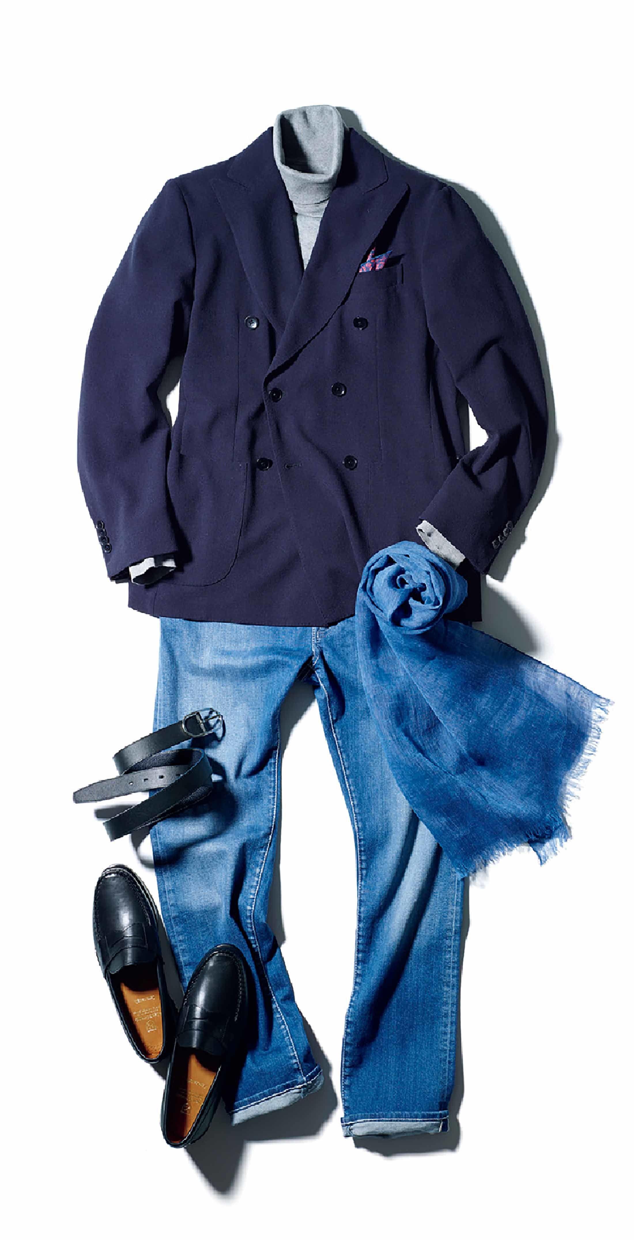 【5】デニム×ネイビージャケットをフレンチ風に楽しむ