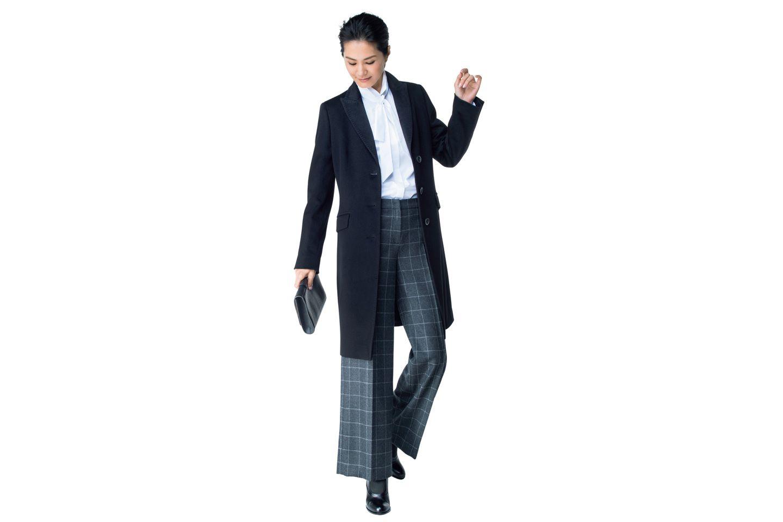 【5】黒ジャケット×シャツ×ワイドパンツ
