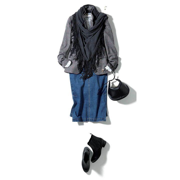 ジャケット×デニムスカート×ストール