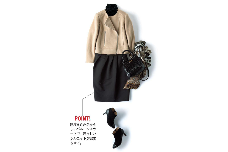【7】黒タートルネック×ノーカラージャケット×黒スカート