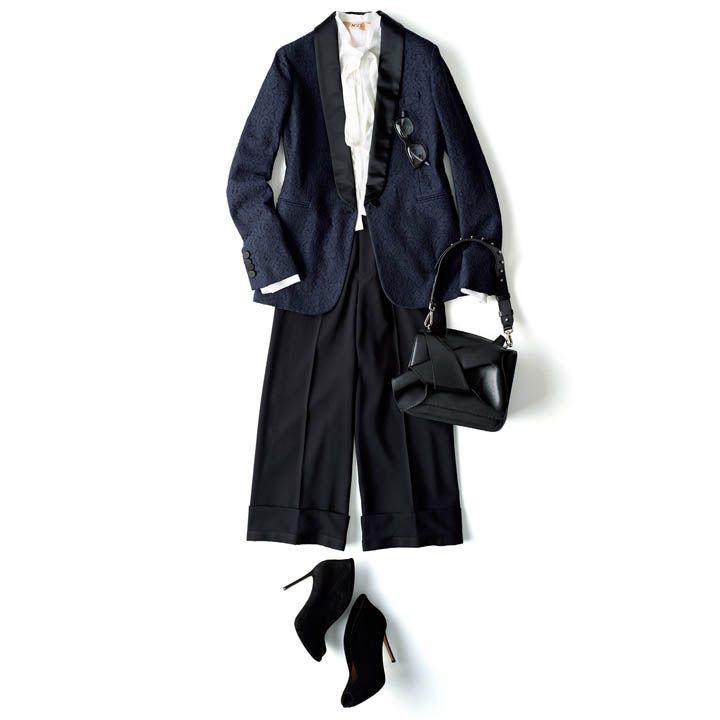 黒パンツ×ジャケット×ブラウス