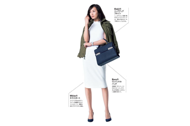 【1】カーキジャケット×白スカート×カットソー