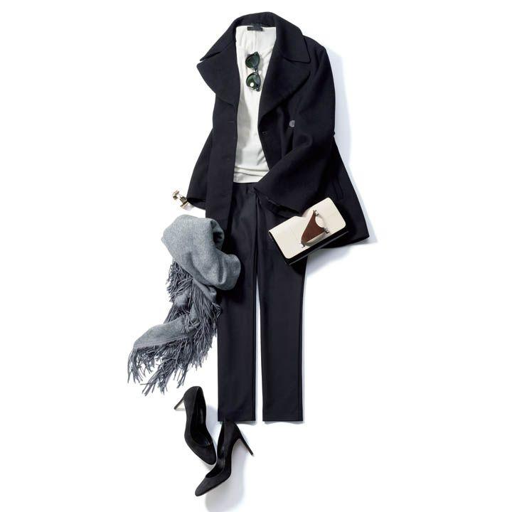 黒パンツ×ハンサムコート