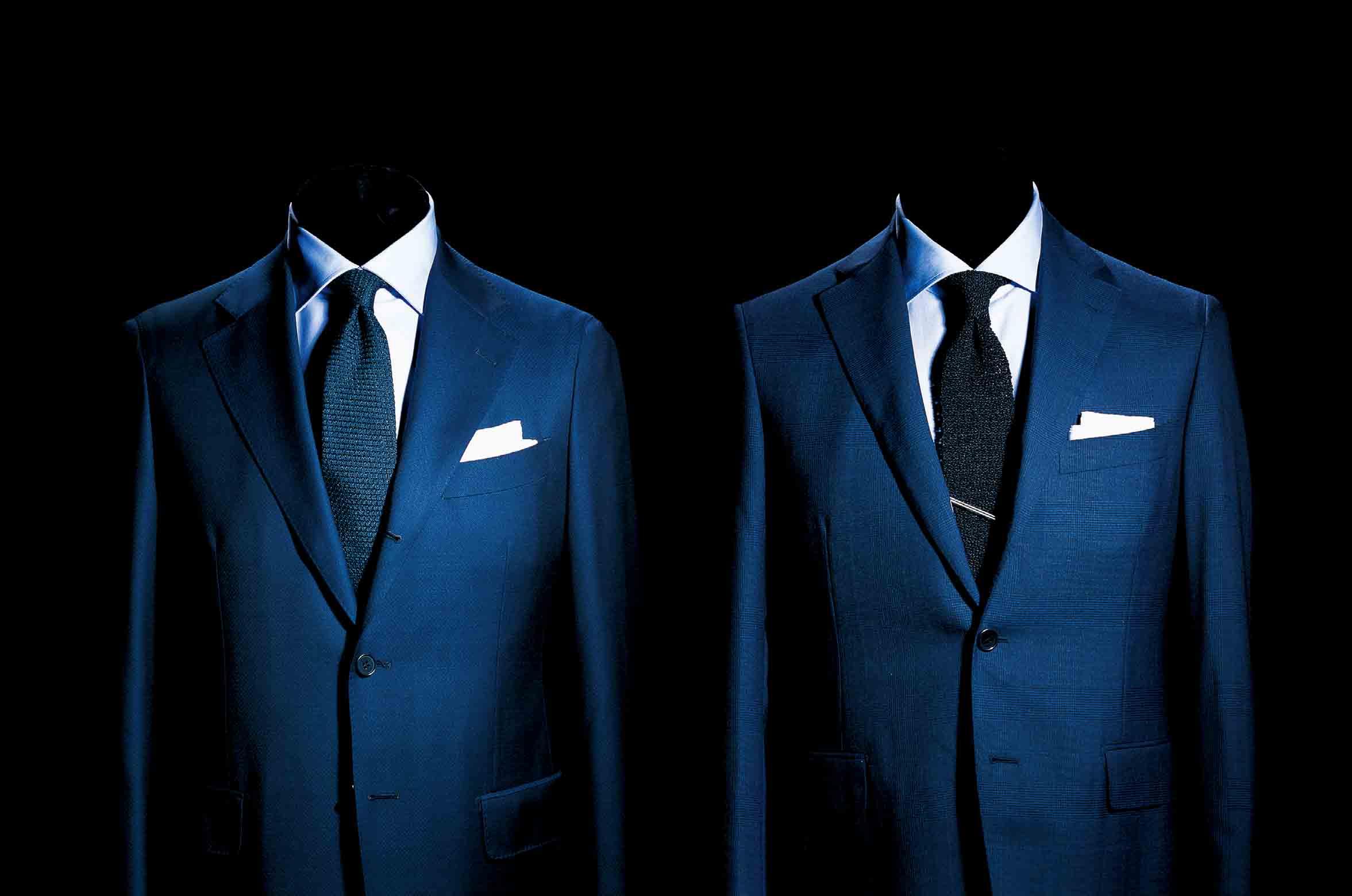 【4】ブルーシャツのネイビースーツコーデ