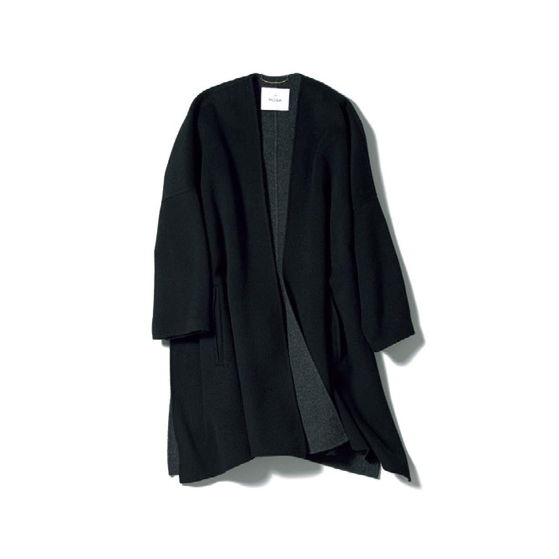 【2】黒のダブルフェースコート