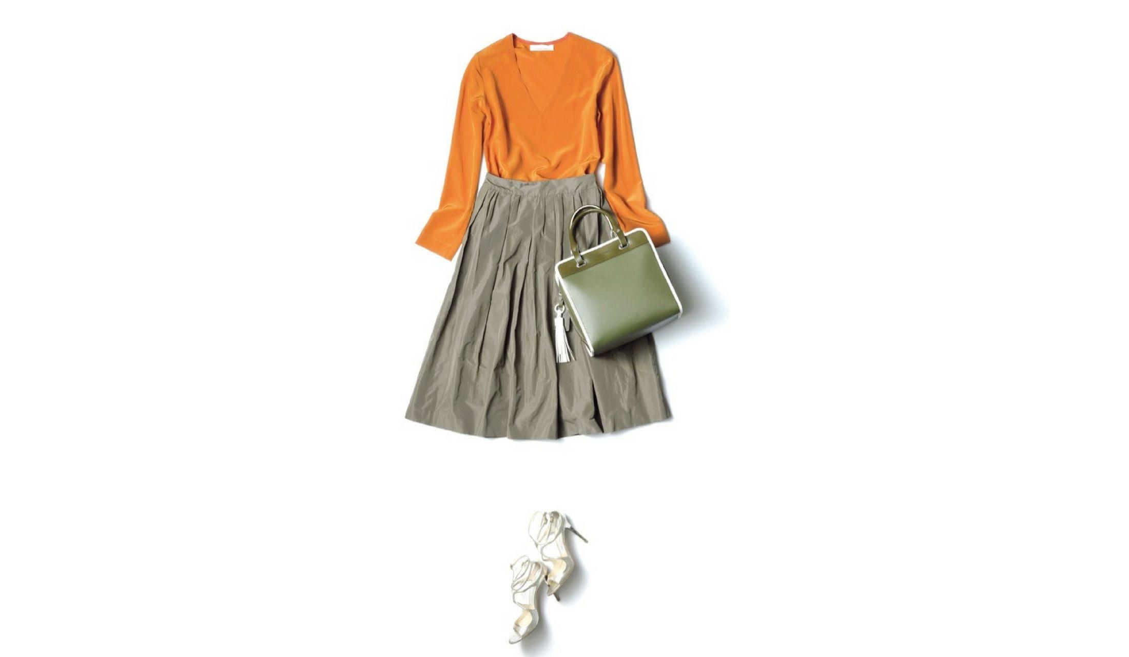 【5】カーキフレアスカート×オレンジブラウス