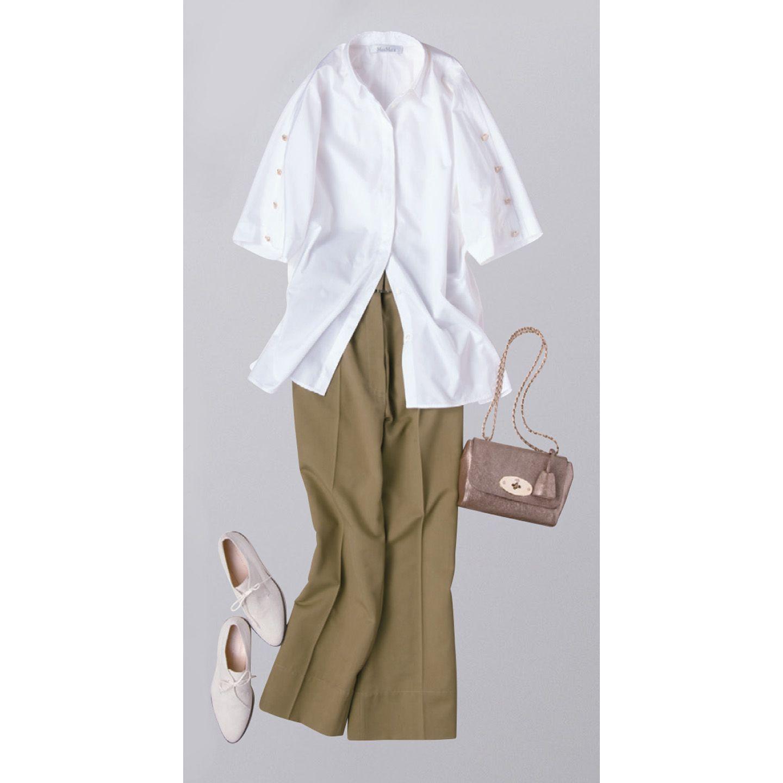【1】白ローファー×カーキワイドパンツ×白シャツ