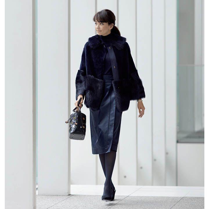 【5】リッチ感のあるファーコートにはボトムスでシルエットを美しく