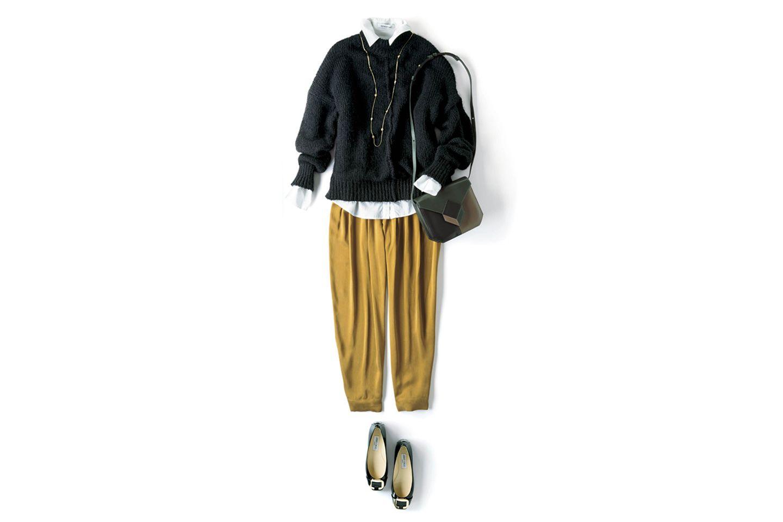 【4】黒タートルネック×シャツ×イエローパンツ