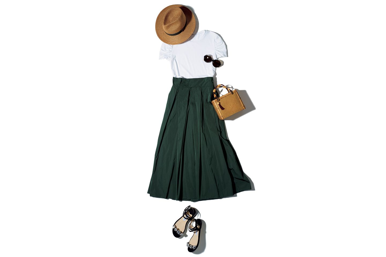 【3】カーキロングスカート×白Tシャツ